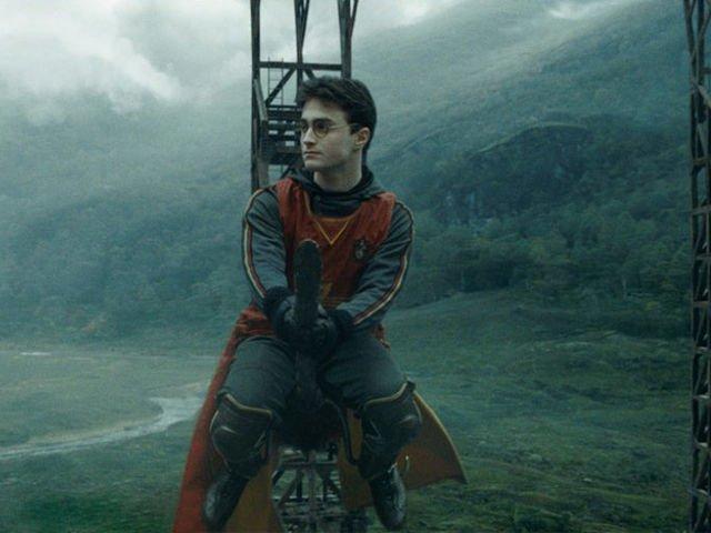 Гарри на метле после спецэффектов