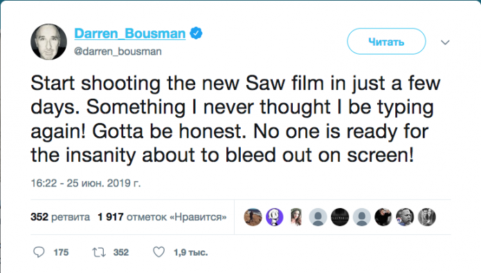 Darren Bousman on Twitter