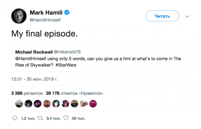Mark Hamill on Twitter