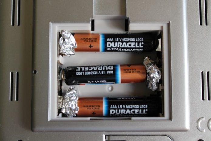 Фольга для изменения размера батареек